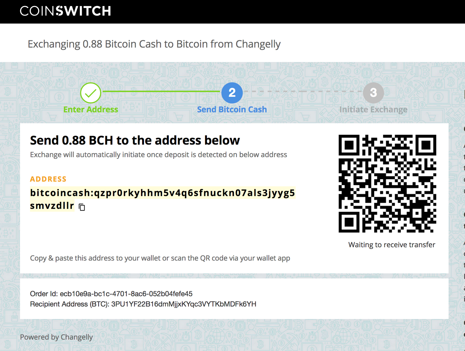 transfer bitcoin to cash