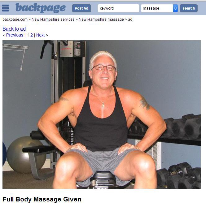 Sid Bowdidge In His Full Body Massage Ad On Backpage