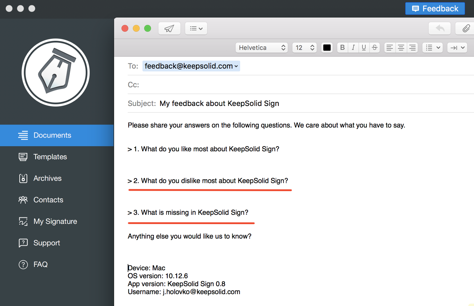 Good Our Feedback Form For KeepSolid Sign