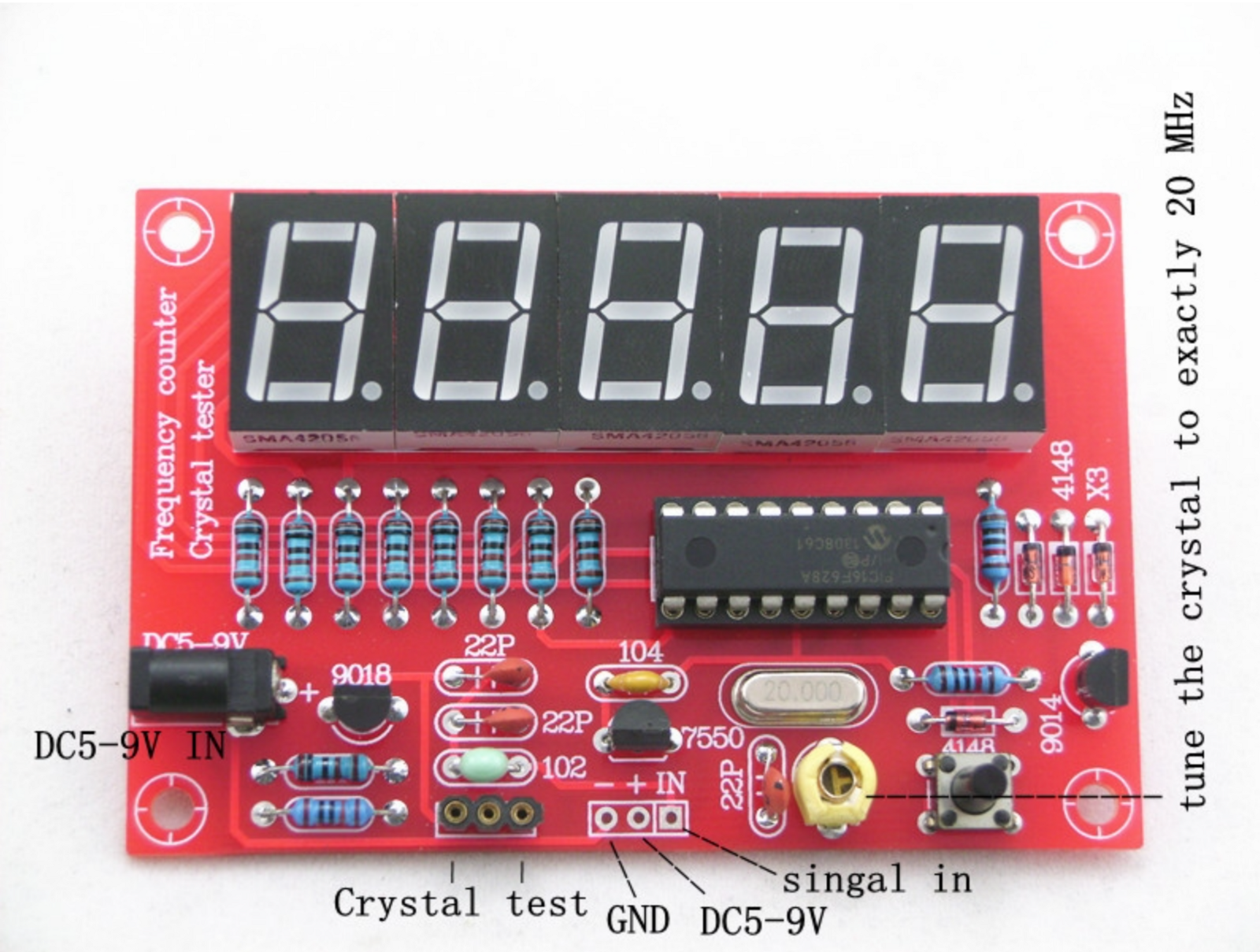 Crystal Oscillator Tester Frequency Counter Kit Review It Says Lt103 On The Schematic I Am Using Lm324 A Quad Opamp And There Is Programming Mode Entered By Long Pressing Pushbutton Manual Also Test Range About 1m 45m Although Does