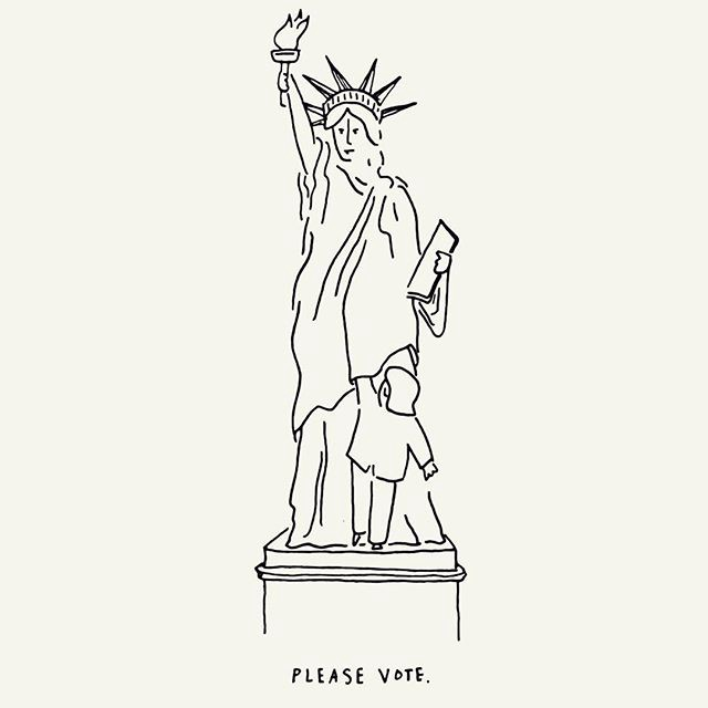 be my last cartoon the statue of liberty imploring us to vote not because she was frightened but because she was ready for this sad chapter to end