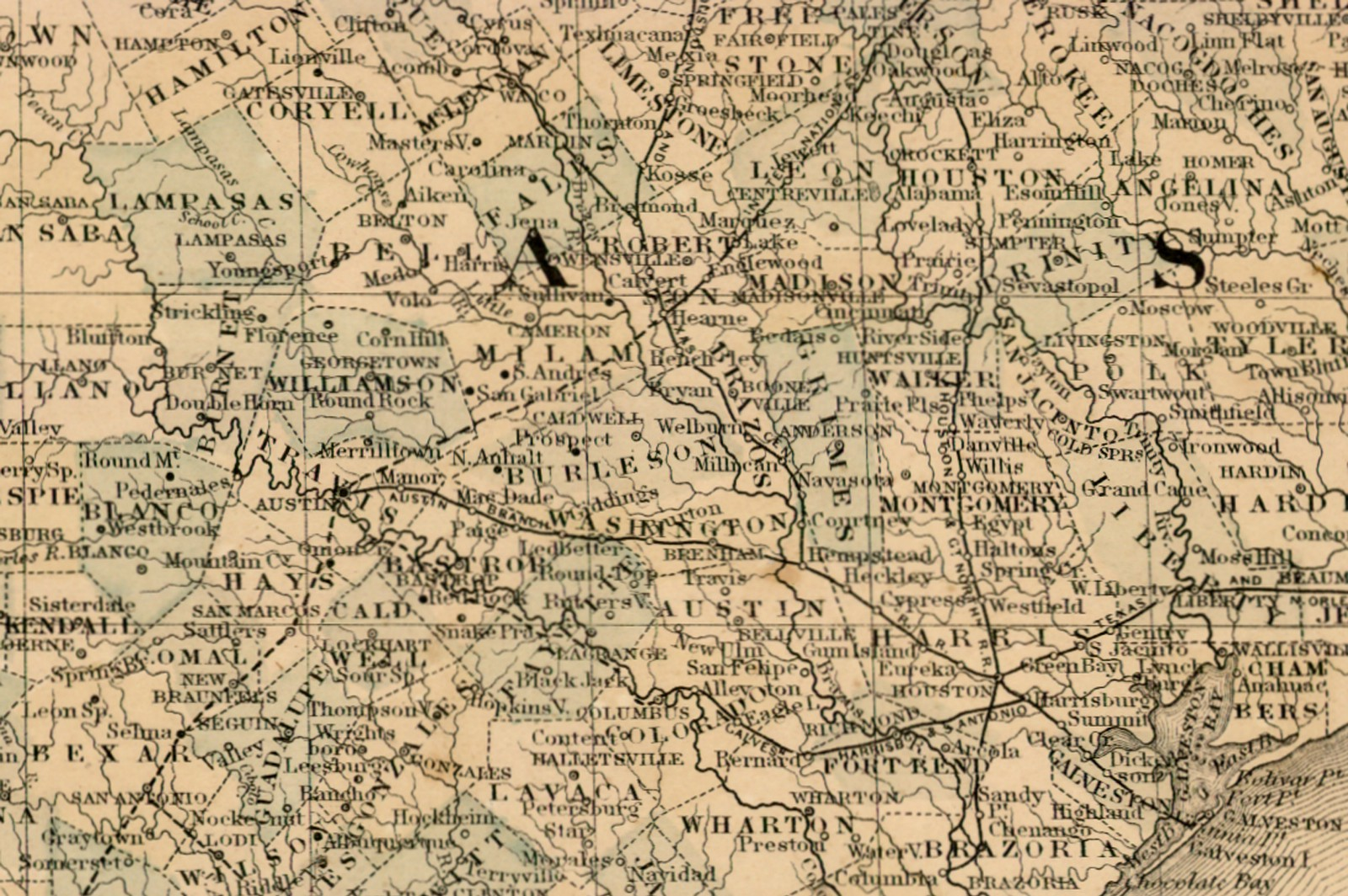 Map Of Central Texas Cities.County Map Of The State Of Texas 1873 Save Texas History Medium