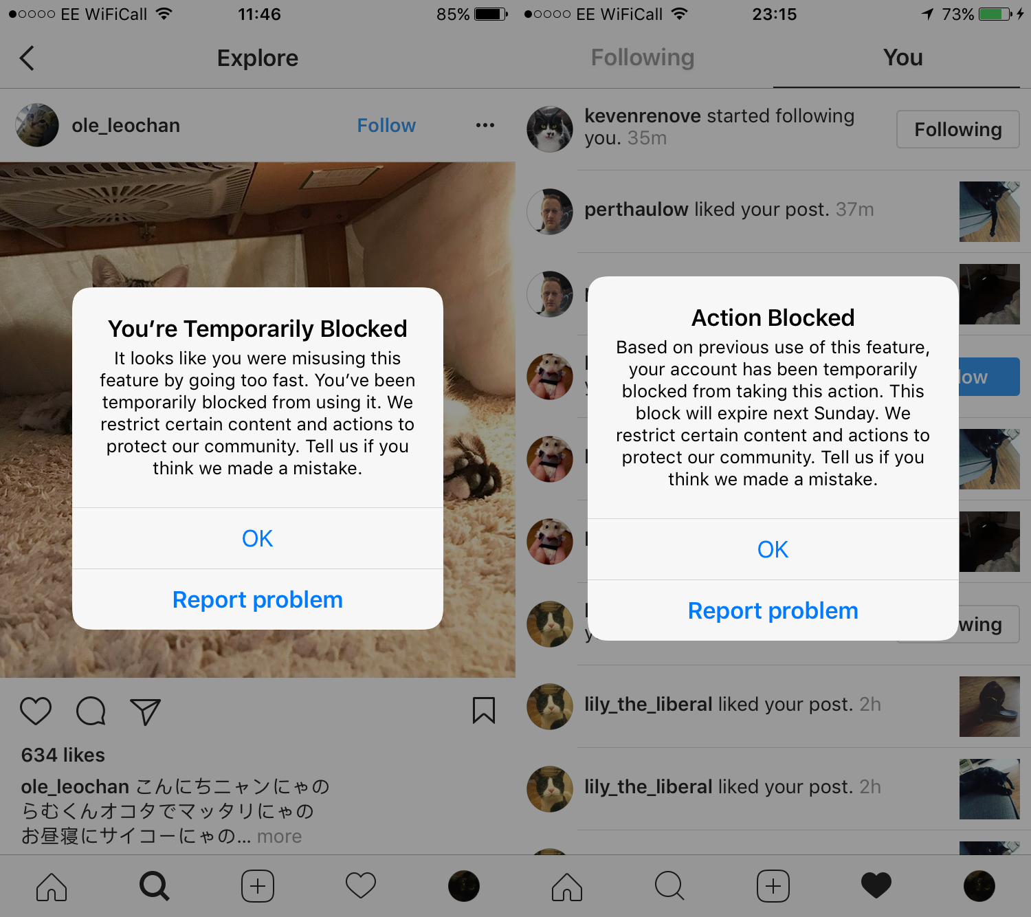 Instagram Following Action Blocked