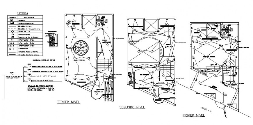 first, second and third-floor electrical layout plan cad drawing details  dwg file