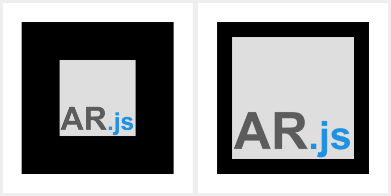 Marker border difference for AR.js