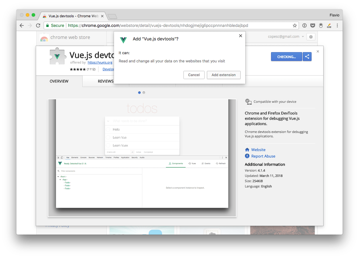 The Vue.js devtools icon shows up in the toolbar. If the page does not have  a Vue.js instance running, it's grayed out.