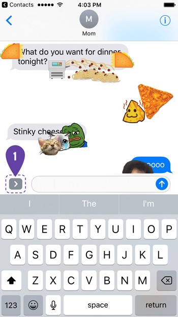 df64d165d8b 1. Tap the arrow next to the text input space on any iMessage.