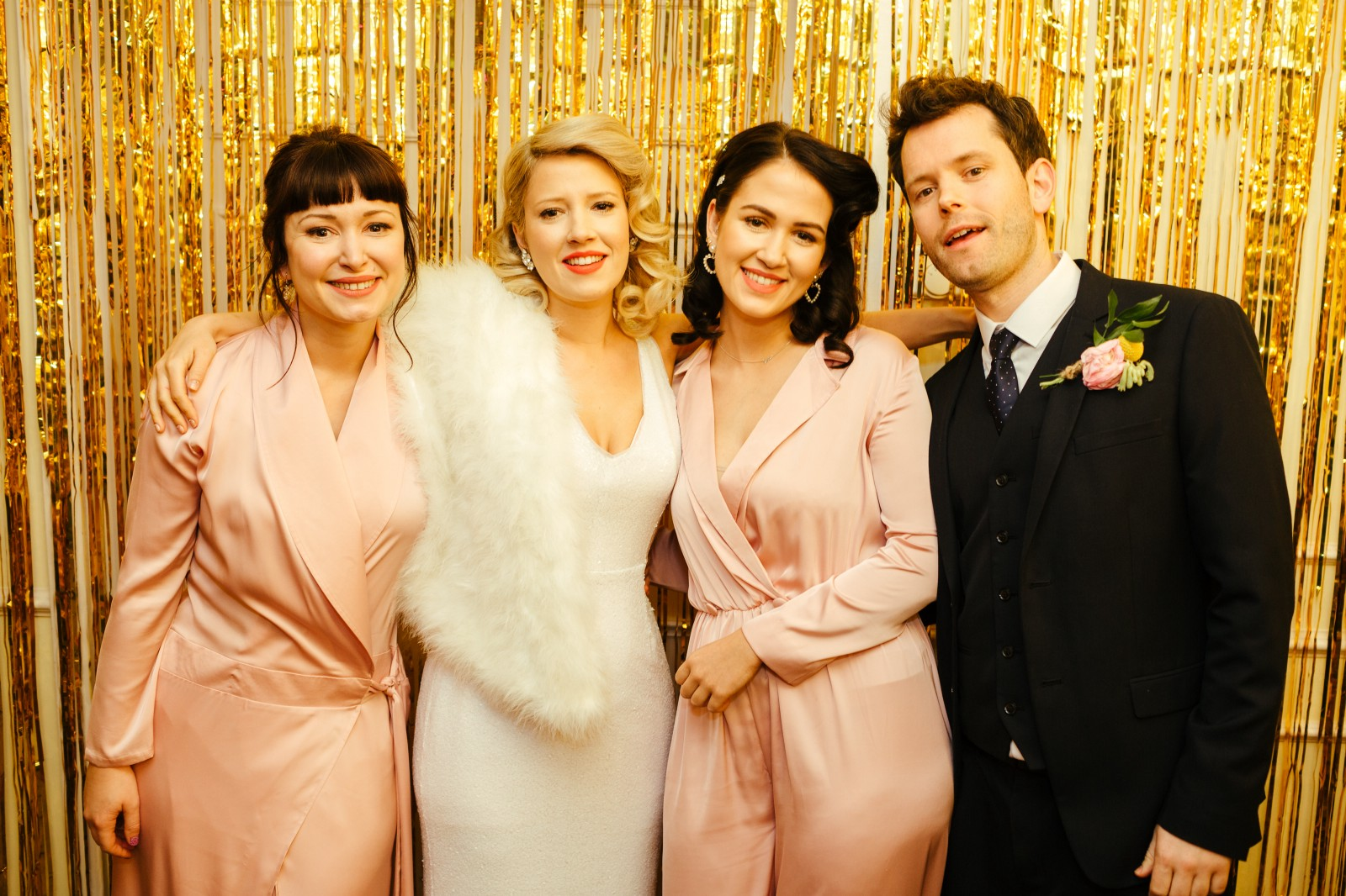 Marie Claire Faulkner with her bridesmaids, dressed in Bastet Noir