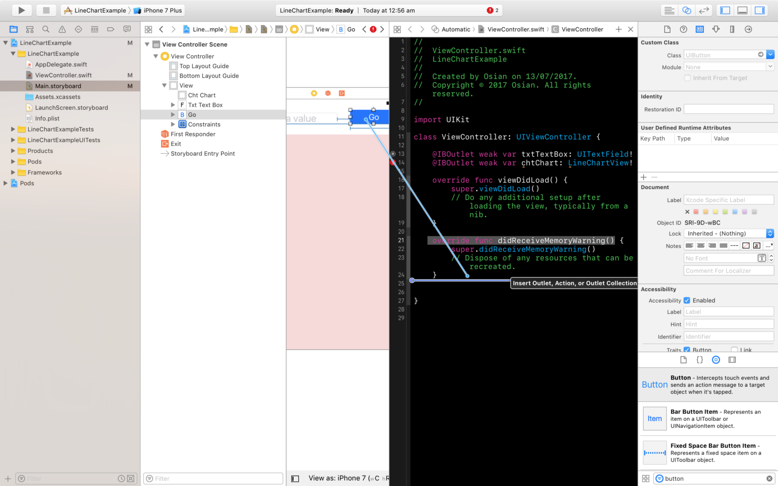 Drawing Line Xcode : Creating a line chart in swift 3 and ios 10 u2013 osian smith medium