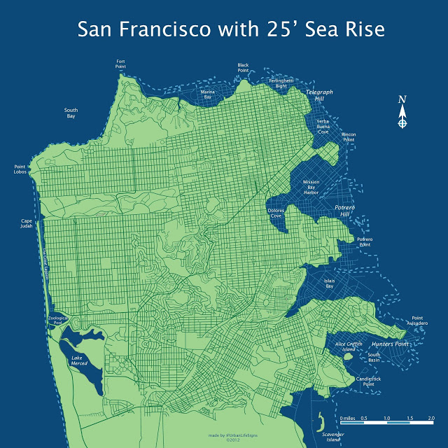 How Climate Change Will Change The Shape Of San Francisco - Map after global warming