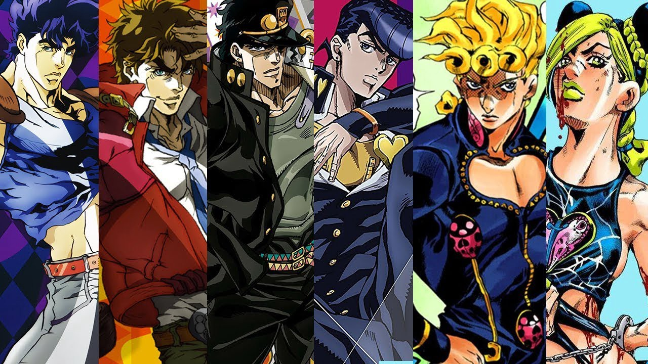 All the protagonists of jojos bizarre adventure left to right from part 1 to 6