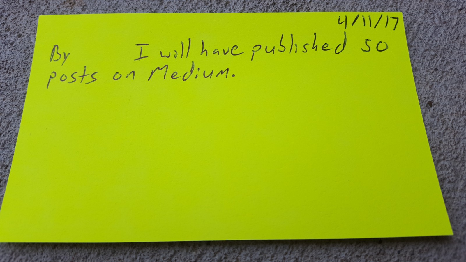 "Notecard that reads ""By [BLANK SPACE] I will have published 50 posts on Medium."""