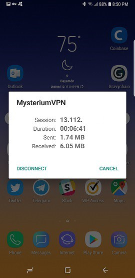 Mysterium VPN on android