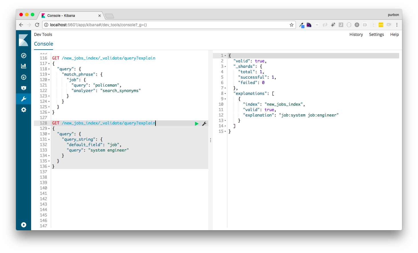 Query debugging with a query string