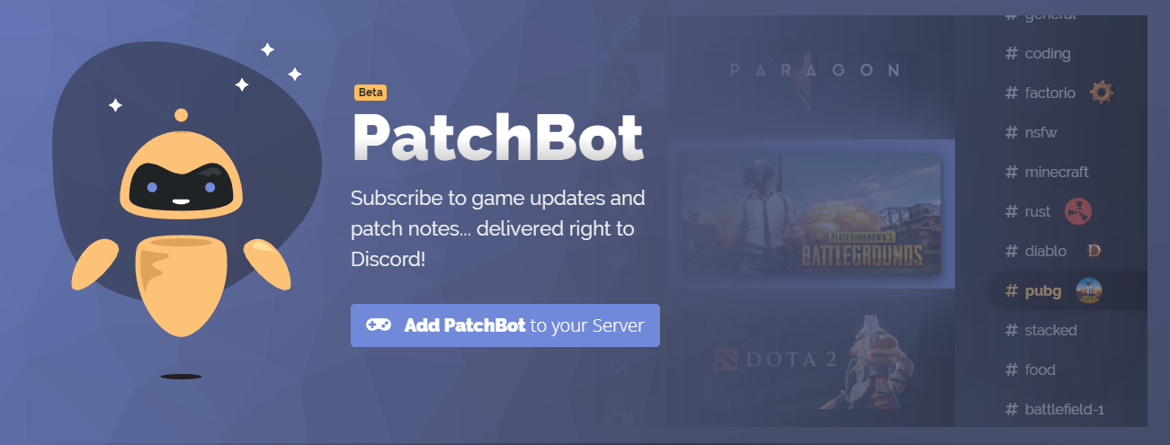 patchbot is a bit different from the others on this list but it s well worth having this bot or rather this service keeps your server up to date on - squad names for fortnite