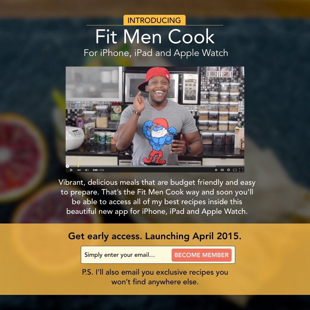 Official ios and android app launched join the hunt now - The Fit Men Cook Landing Page Prior To Launch