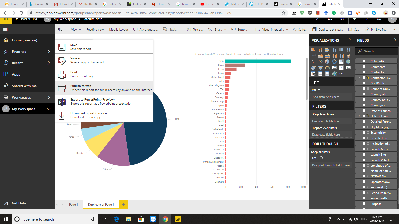 ... website visualization of the dataset based on graphs and fields selected in my report, it also changes in real time, as I change them on my Power BI app ...