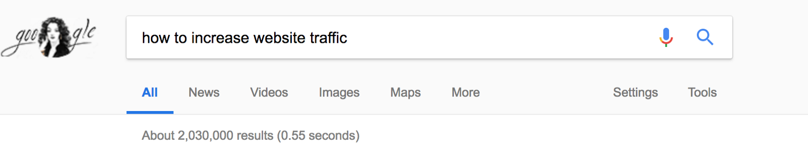 "Google Search Result for ""How to increase Website Traffic?"""