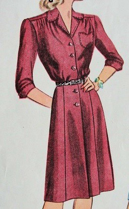 10b30fbfa8e High neckline — A 1940 s day dress had a neckline that is modest by today s  standard yet revealing for the times. An opening came in square