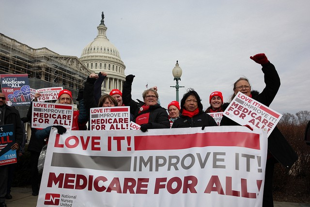 NNU nurses in Washington, D.C. for the launch of the new House Medicare for All bill, H.R. 1384.