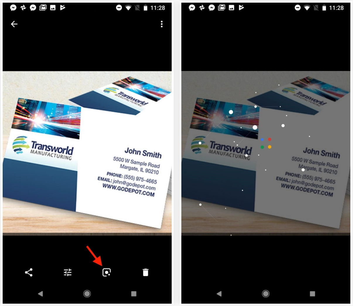 How to use lens in google photos to create contacts from business cards google lens will then scan your photo with a cool animation before loading up all the information it was able to obtain from the card colourmoves