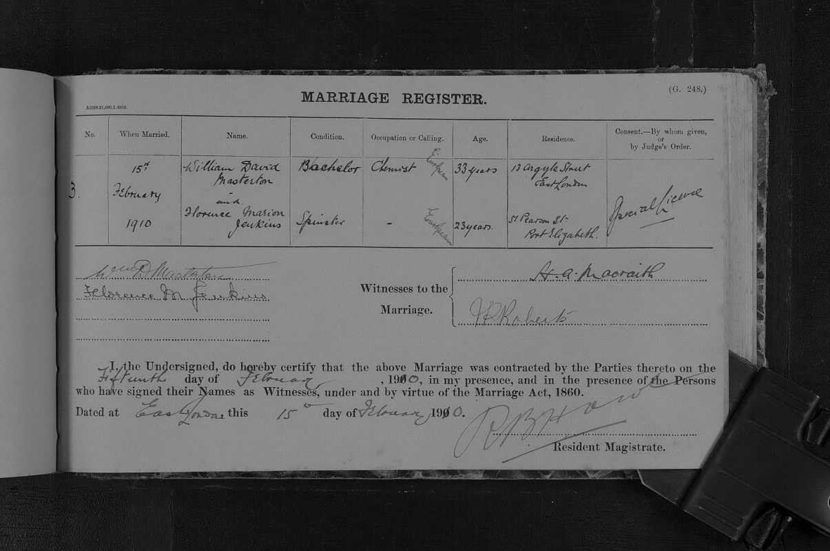 Marriage certificate for William Masterton and Florence