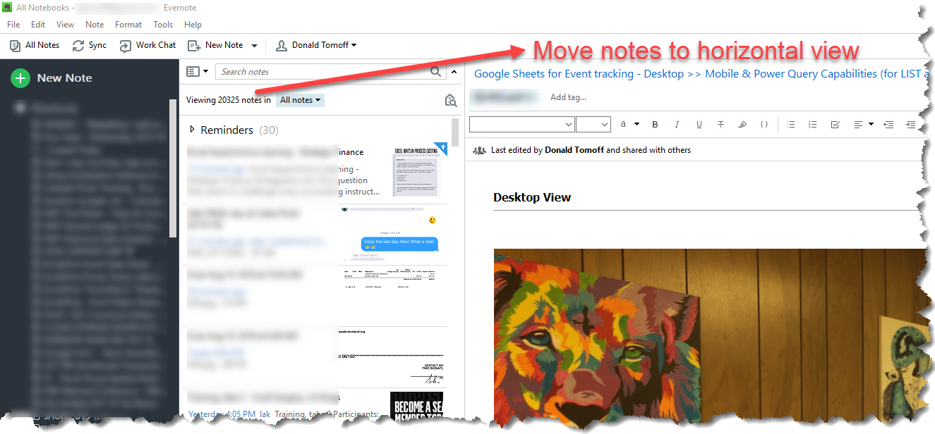 how to change notes location