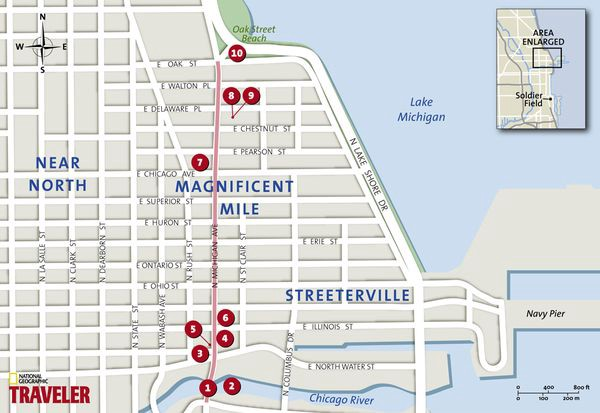 Chicago Magnificent Mile Map on