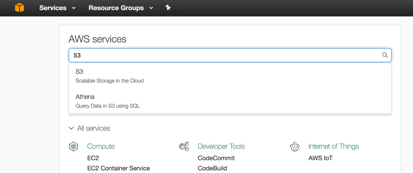 Click The Aws Console Icon Cube At Top Left Hand Corner And Search For S3
