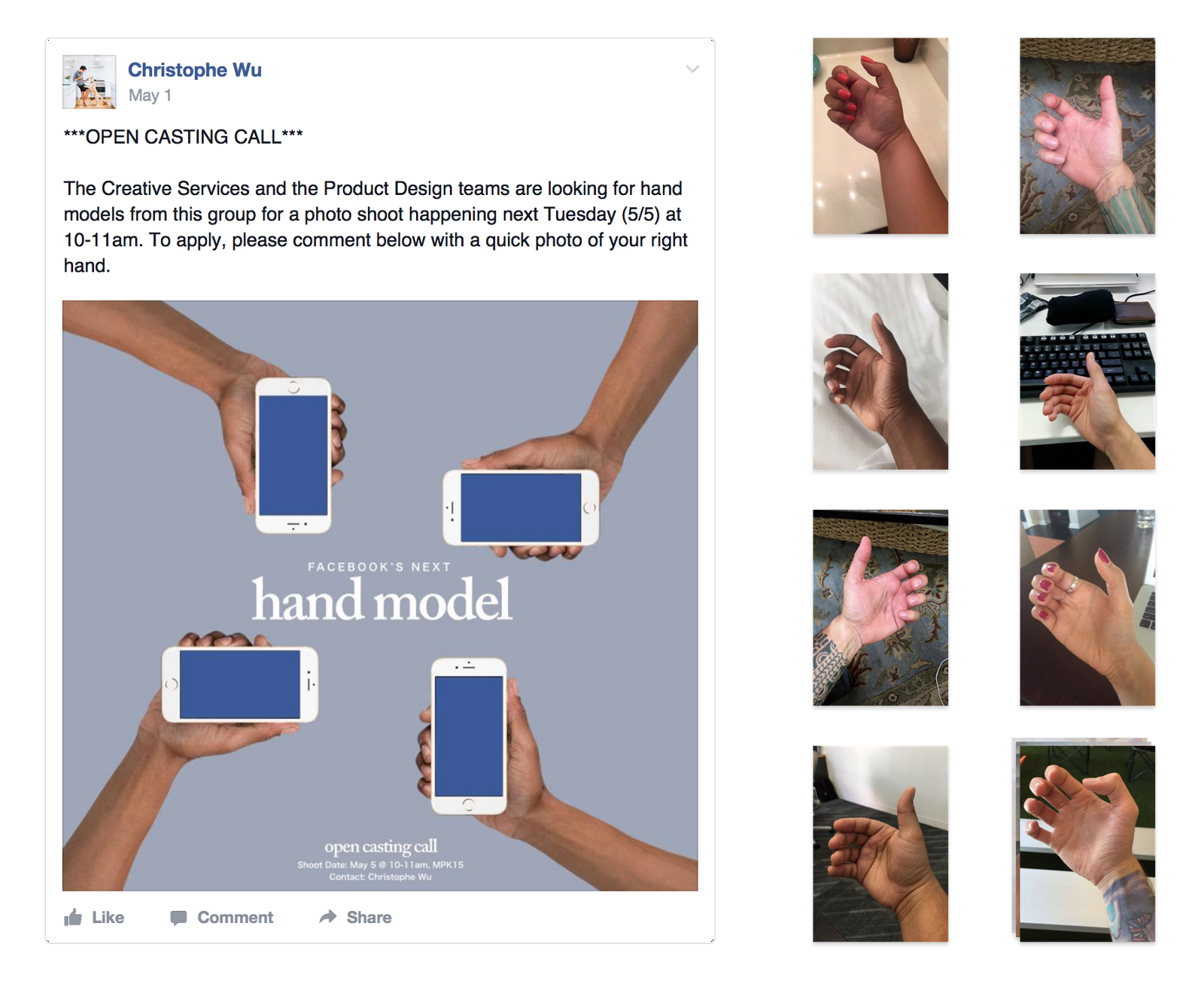 "We Made This Casting Call Post Asking People To Digitally Audition By  Sending A Photo Of Their Hand €�holding"" A Phone"