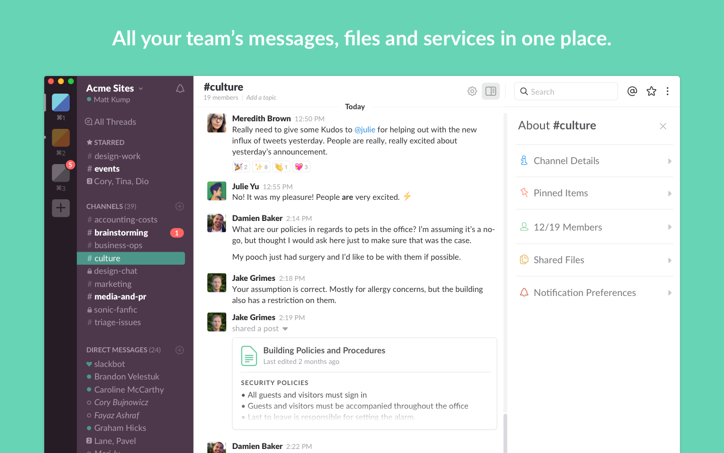 Slack — team communication, conversation channels