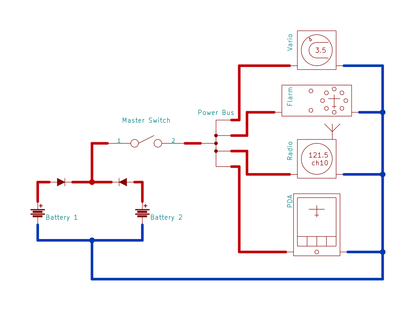 Sailplane Power Supply Taming A Medium Wiring Switches In Parallel Battery With Diodes