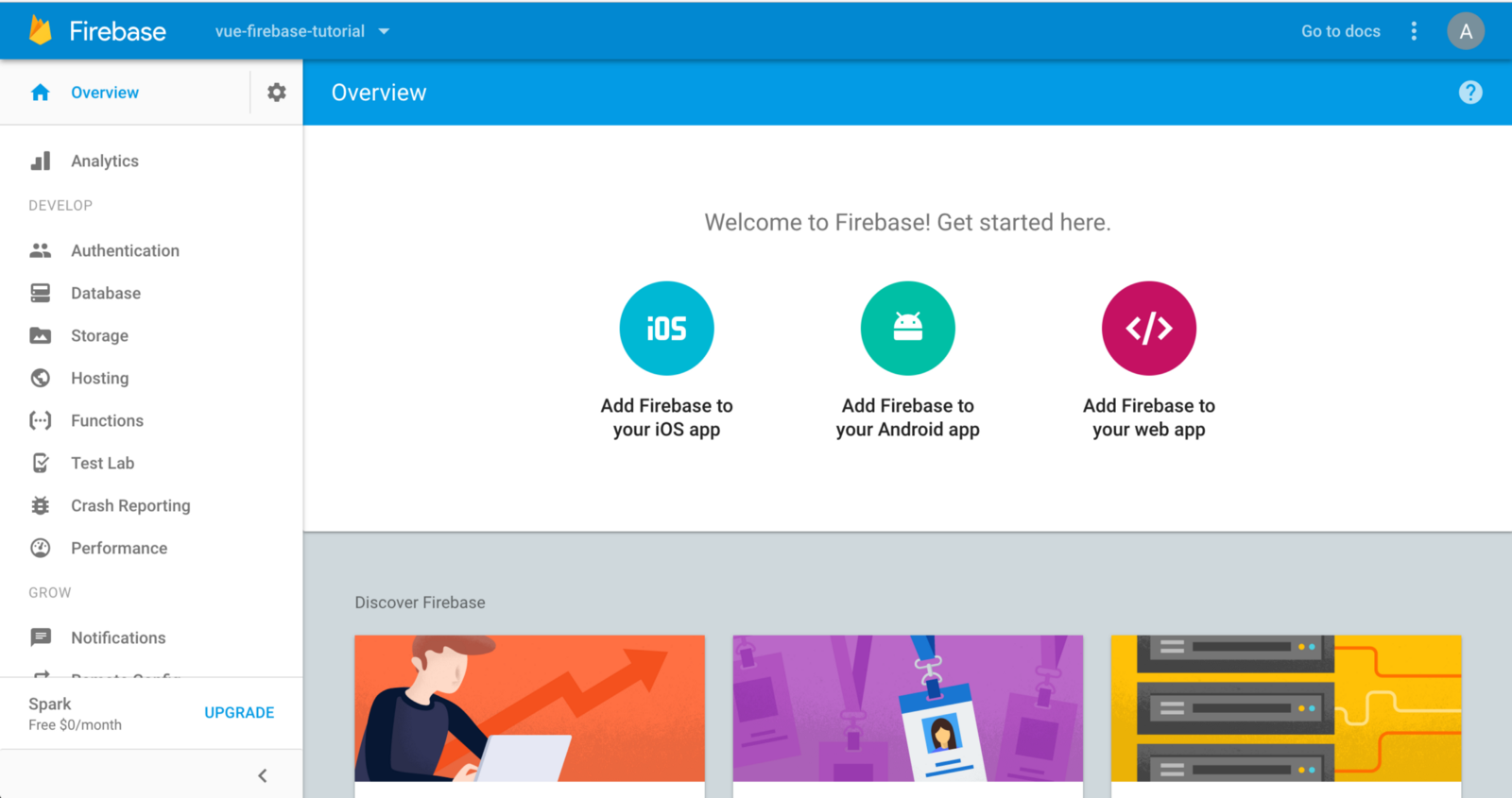 project home page on Firebase