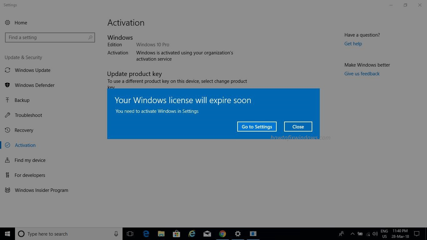 your windows license will expire soon 2019