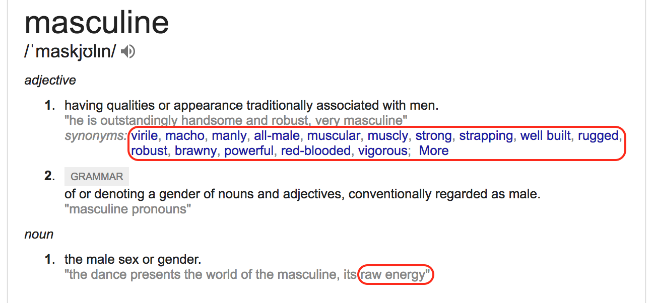 Google Search For Masculine Meaning What A Child Would Find