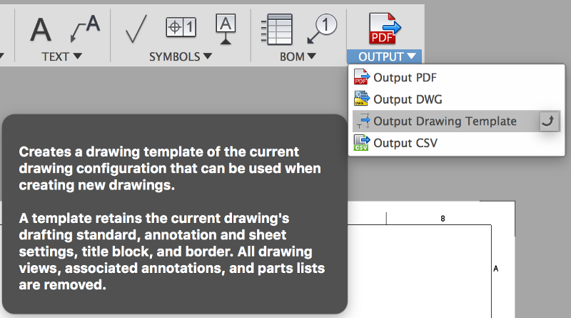 dropdown menu for Fusion 360 drawing templates