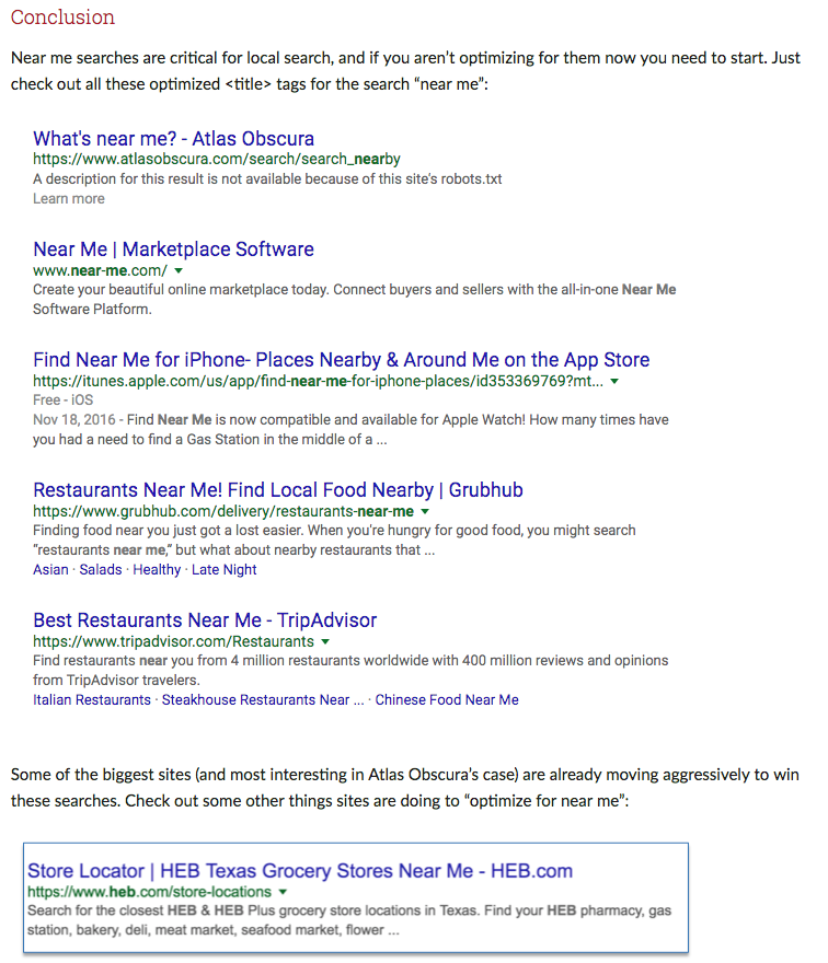 """Local SEO rankings and """"near me"""" optimisation — An experiment"""