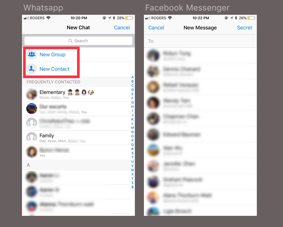 When Using Whatsapp, The First Option Is To Create A New Group, Before  Selecting From A List Of Individual Users.