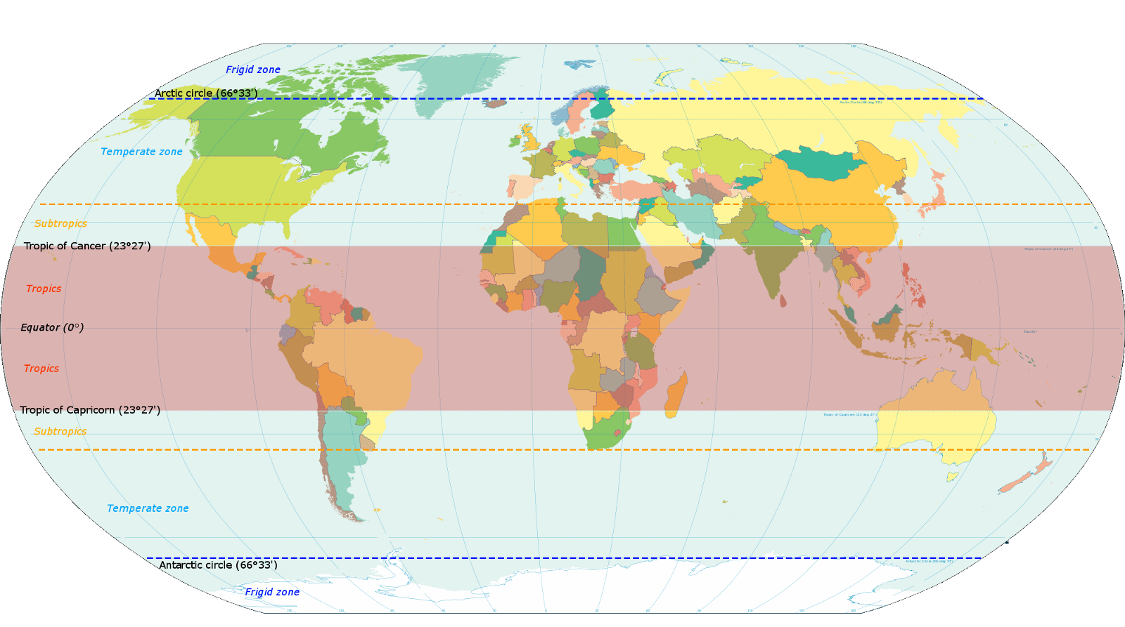 before we get onto the kppen climate groups this map showing the equator the tropical latitudes and the tropical and sub tropical regions is useful in