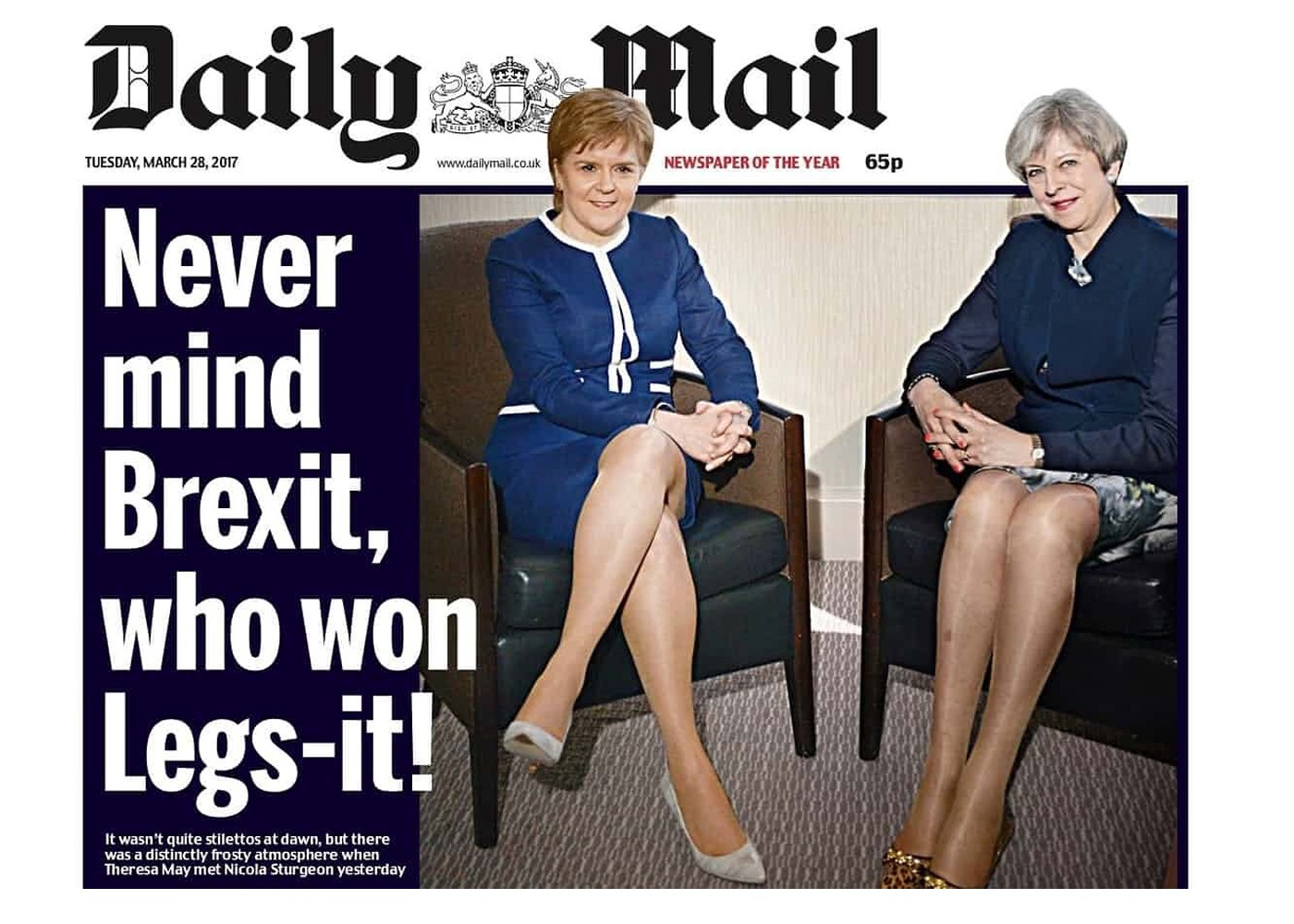 99ef0d5116fd8 In 2017, the Daily Mail reported not on Brexit talks, but on the legs of  the UK's two most senior politicians. Image credit: Daily Mail.
