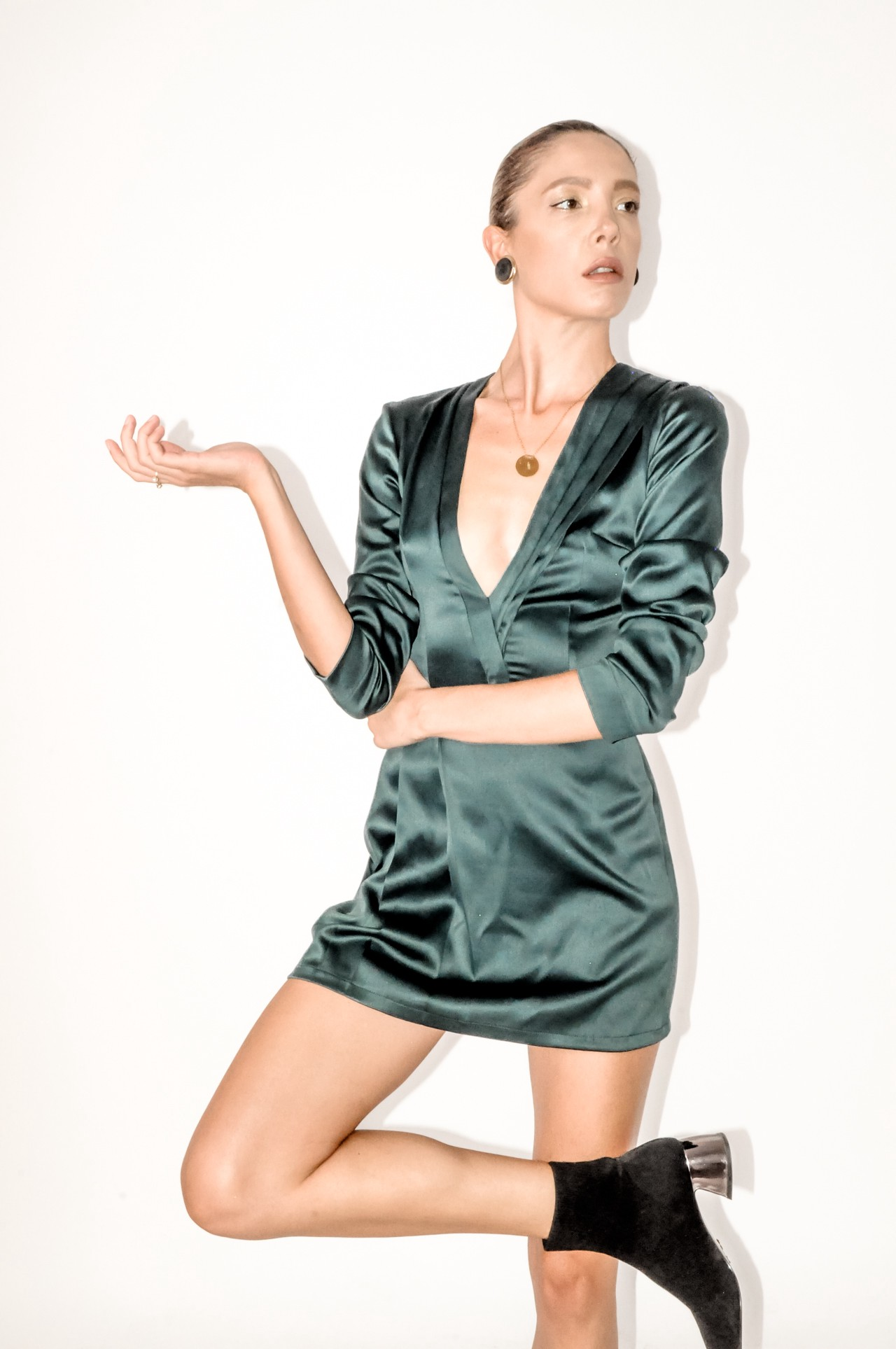 Emerald green mini dress by Bastet Noir