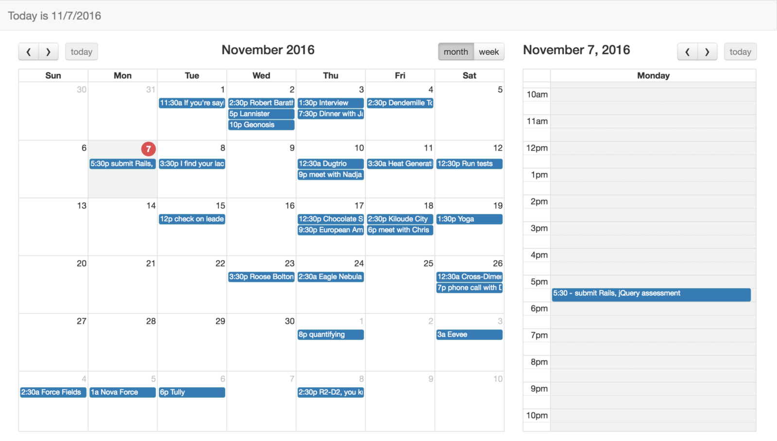 Monthly Calendar Using Javascript : Creating a calendar app using full javascript