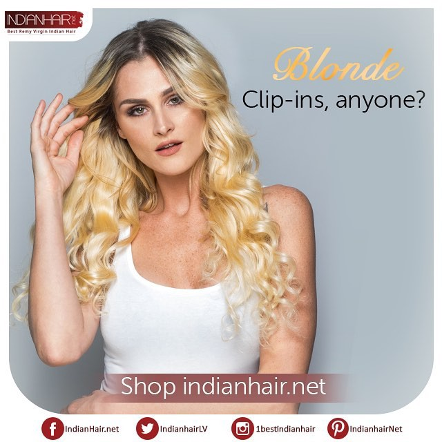 Blonde Clip In Hair Extensions Indian Hair Medium