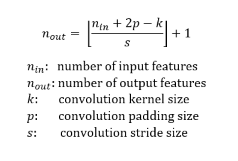 formula for output size   ResNet from scratch