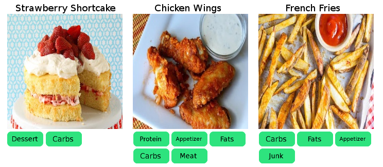 Sample food images and tags using multi label classification