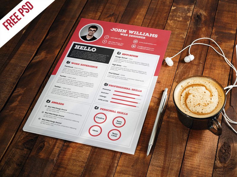 This Resume CV Template Free PSD Is Creative, Elegant, Modern And  Professional, Made To Help You To Get Your Great Job. This Template Is So  Easy To Use And ...  Resume Template Psd