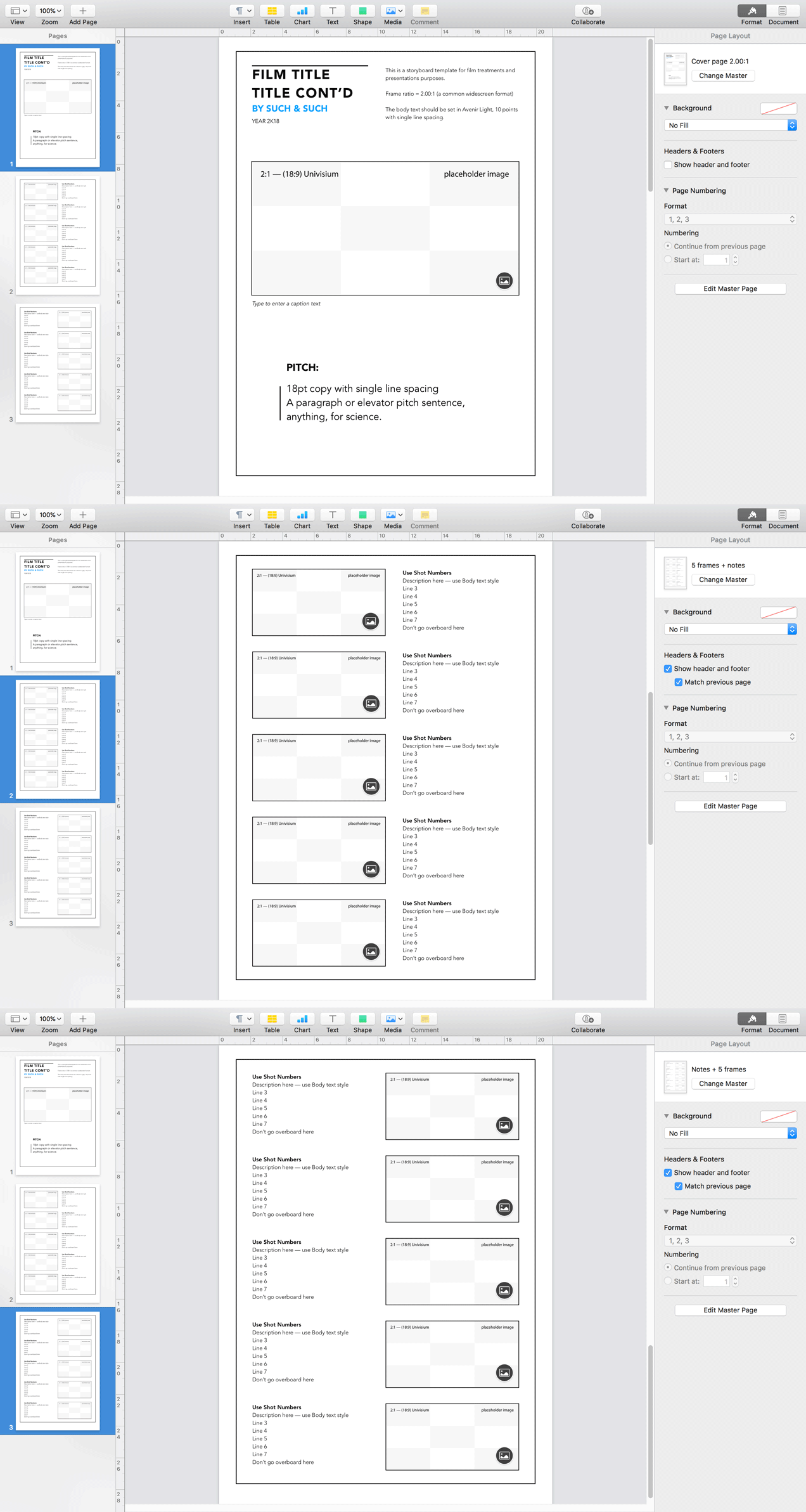 Apple Pages Storyboard Template For 2001 Aspect Ratio Overview