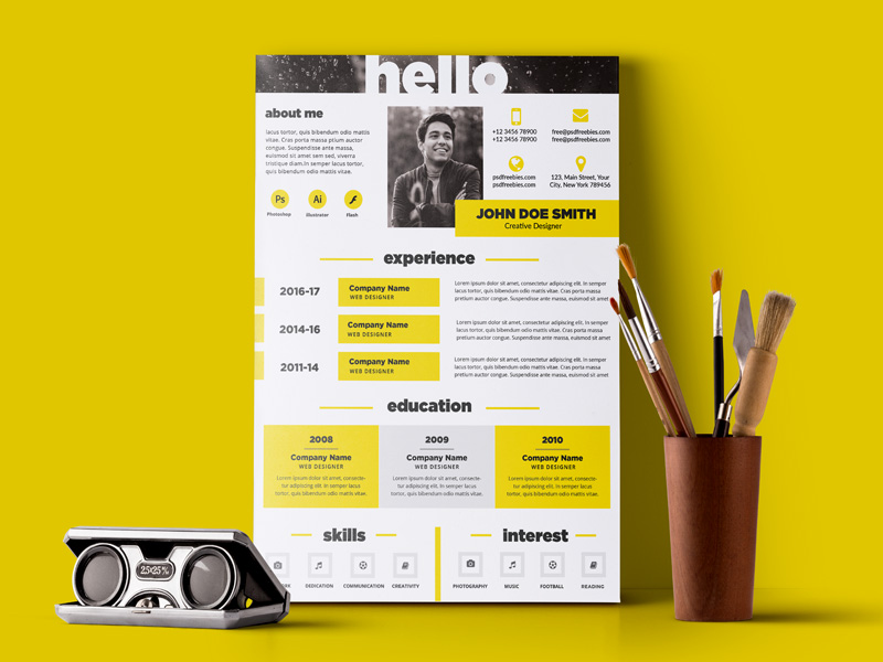 This Free Resume Template Is Perfect For Designers, Developers And  Photographers. You Can Edit Display Your Photograph, Your Contact Details,  And Your Skill ...  Graphic Designer Resume Template