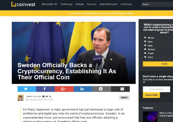 Sweden official currency cryptocurrency