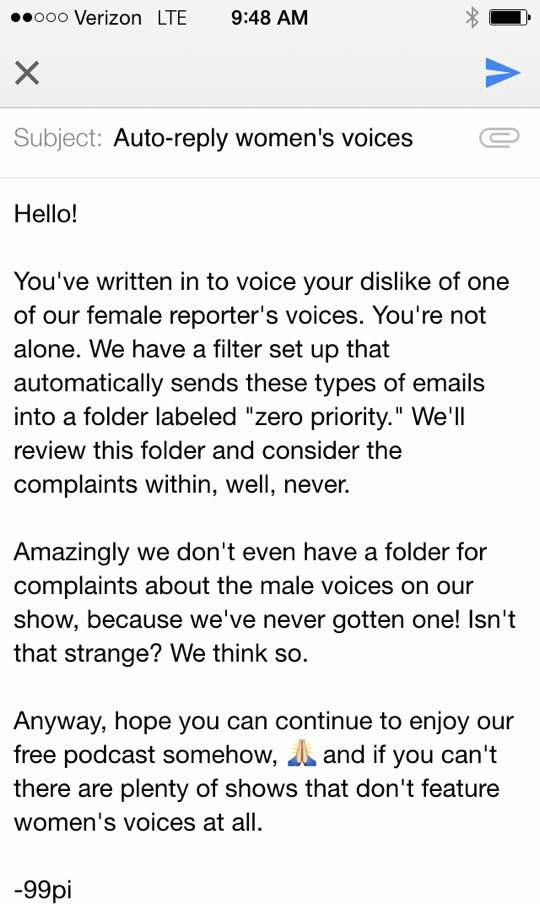 99 Invisibles Great Response To Listener Complaints About Womens Voices